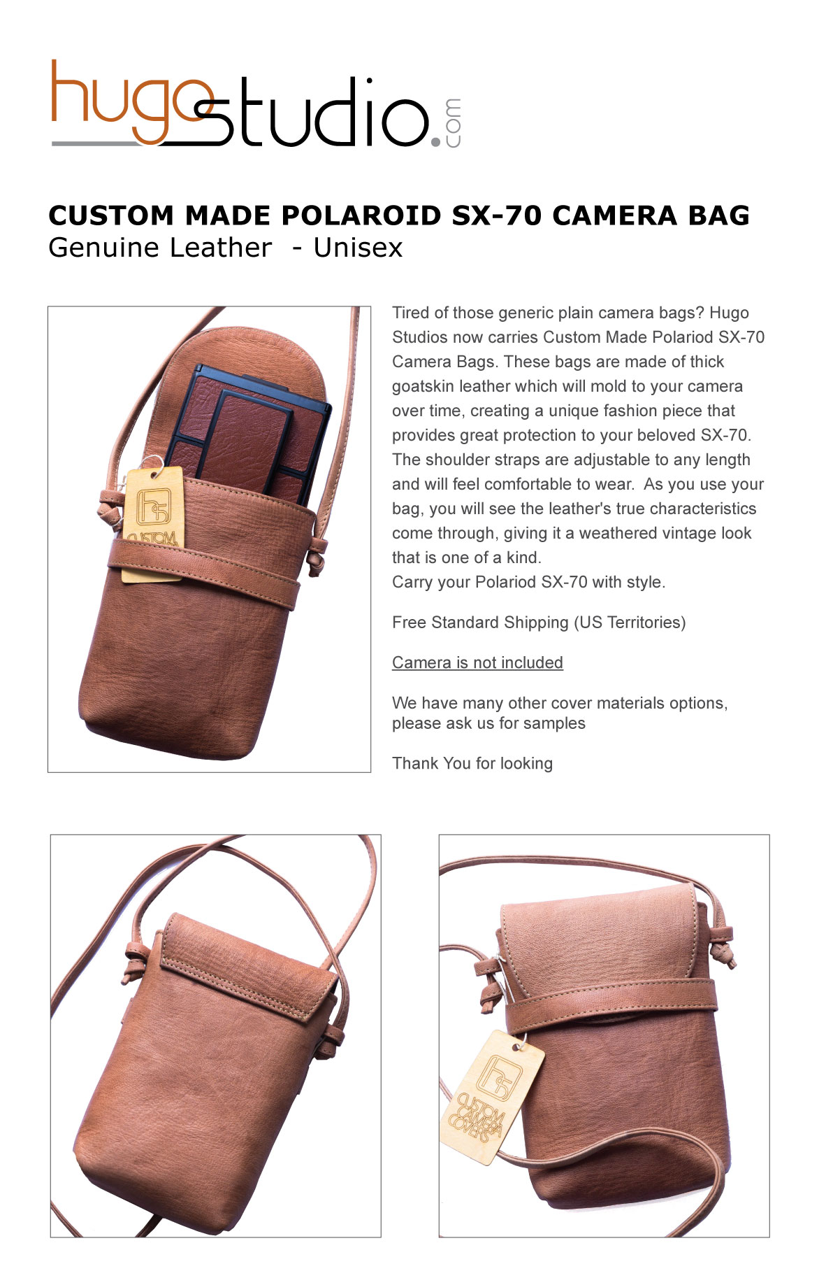 Details About Custom Made Polaroid Sx 70 Camera Bag Genuine Leather Uni